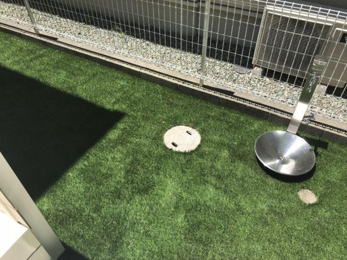 ガーデンパン 人工芝 立水栓 シルバー
