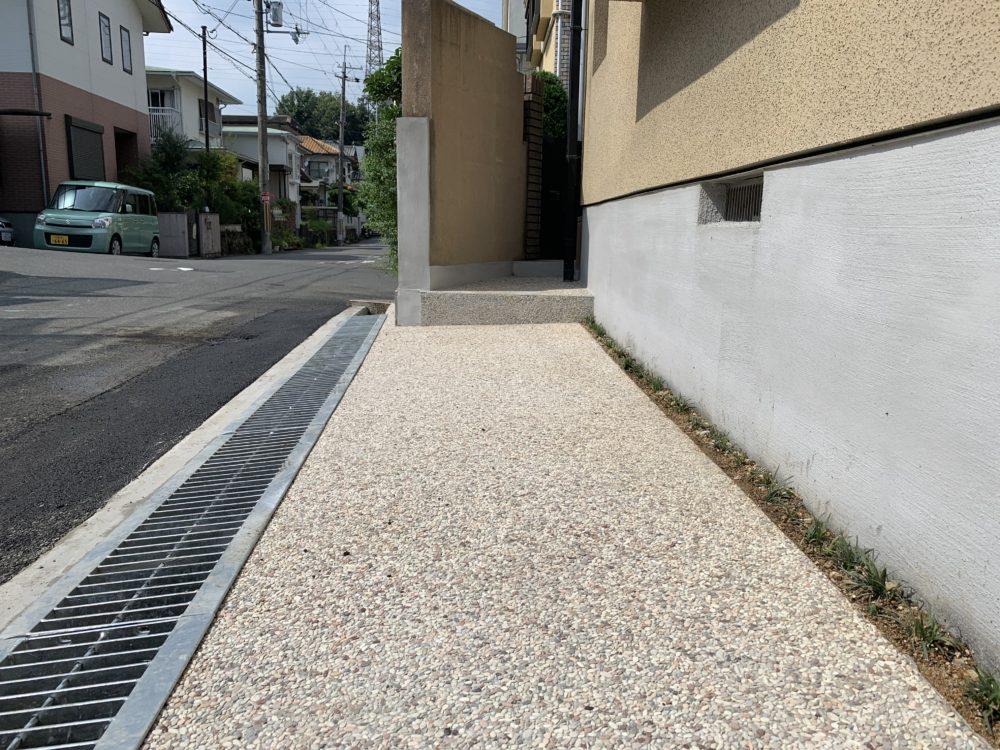 外構 リフォーム 犬走り 大阪 洗出し舗装