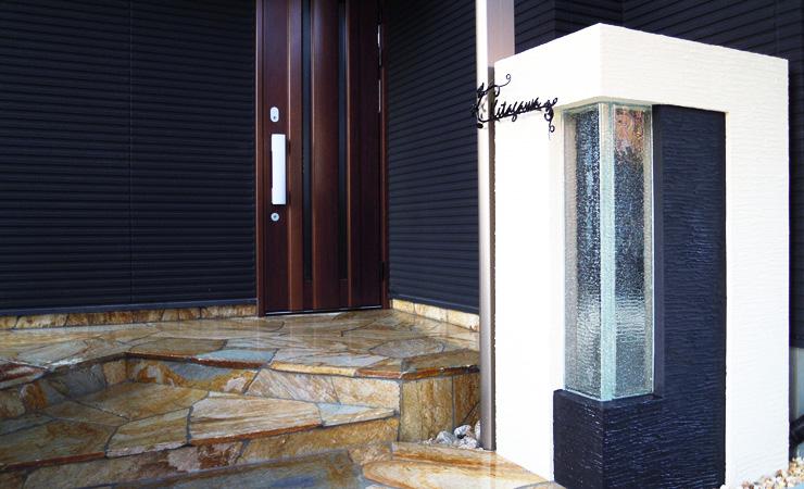 門柱 ガラス 玄関ポーチ