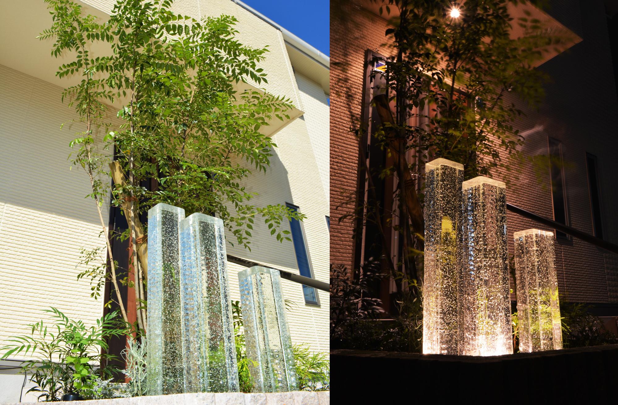 照明 エクステリア ガラス 庭のリフォーム ガラスライト 屋外