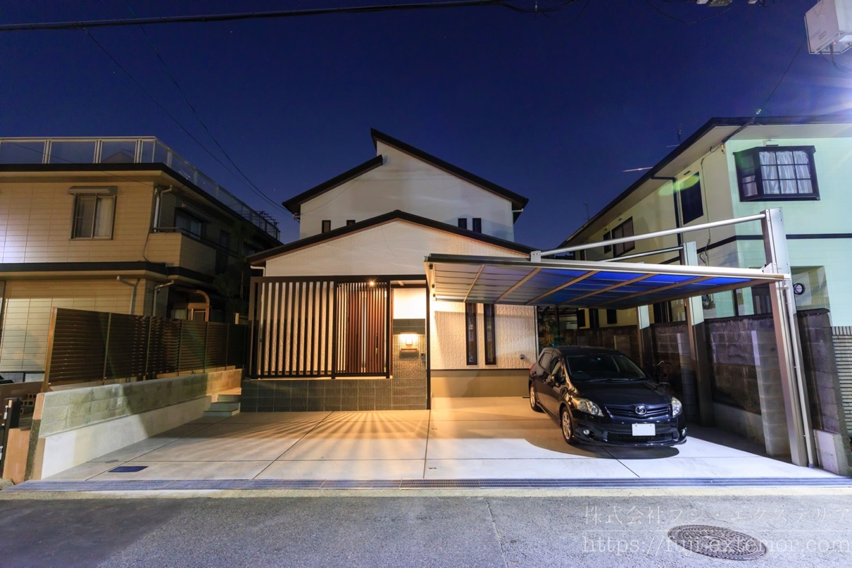 ライティング 三協アルミ ダブルフェース おすすめ カーポート 大阪 外構