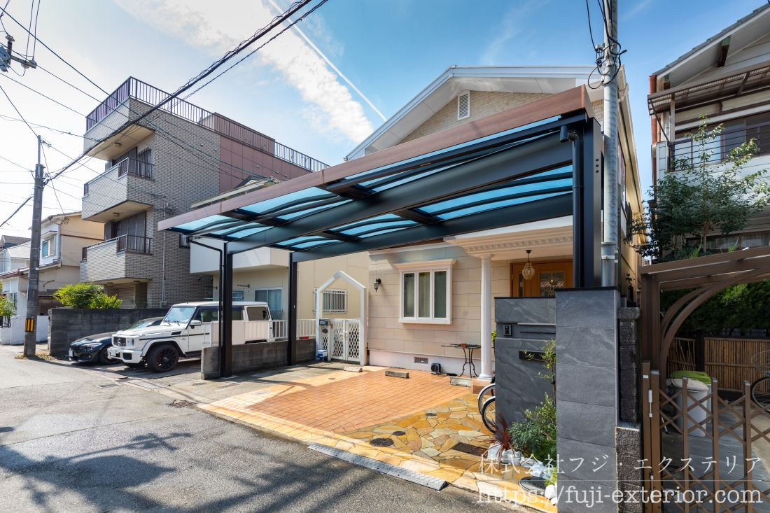 オープン外構 Uスタイルアゼスト 三協アルミ リフォーム 大阪 フジエクステリア カーポート 屋根