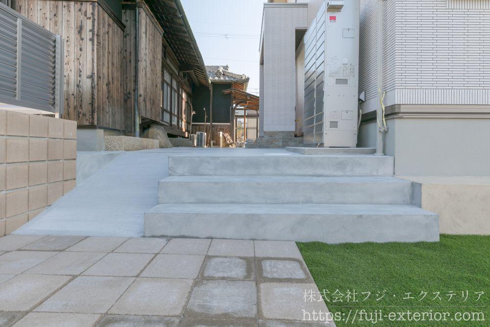 スロープと階段 大阪 外構 エクステリア