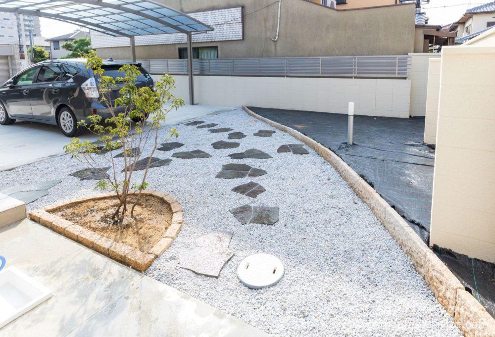 リフォーム 和モダン 日本庭園 白砂利 飛び石 諏訪鉄平石