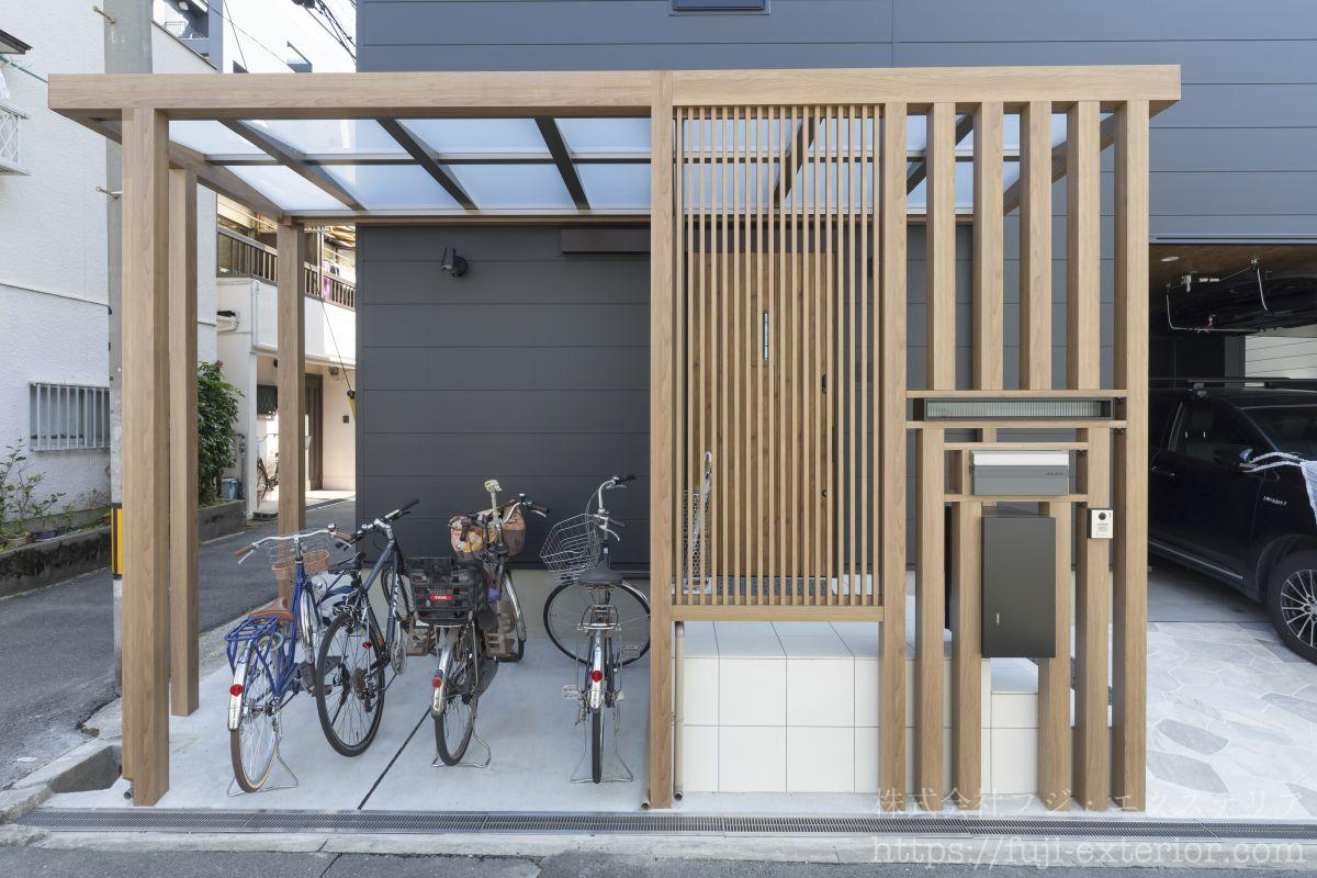 プラスGのファサード 玄関廻り 目隠し 屋根 エクステリア 外構 大阪