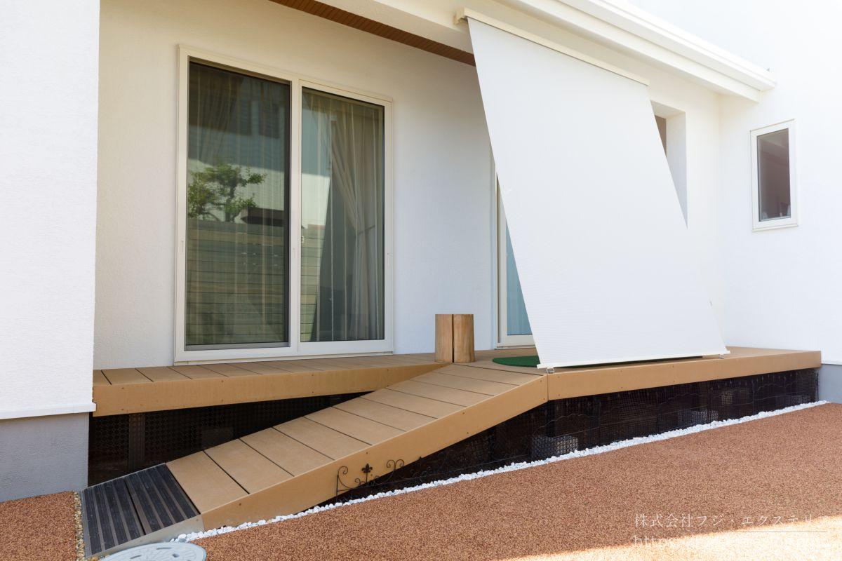 ウッドデッキ・LIXIL樹ら楽ステージ 三井ホーム 庭づくり スタイルシェード アウトドアリビング 日よけシェード 暑さ対策
