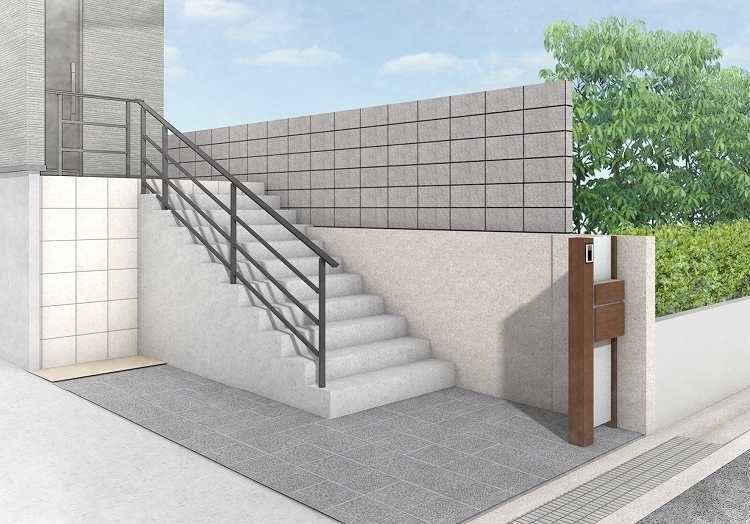アプローチ階段 手すり 大阪 オープン外構