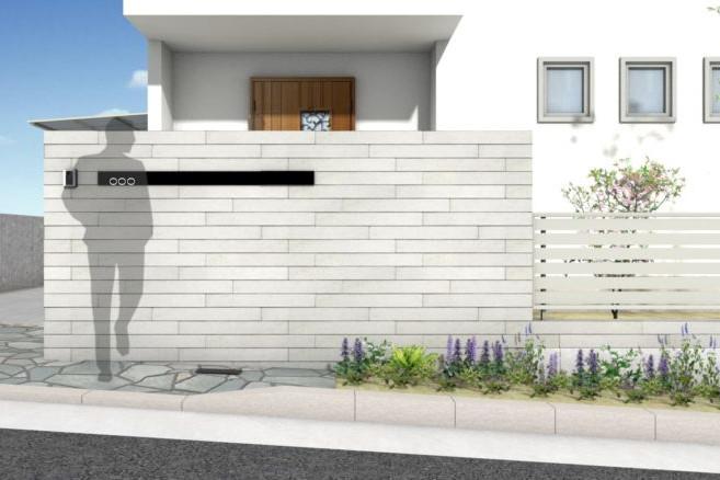 三井ホーム セミクローズ外構 門柱
