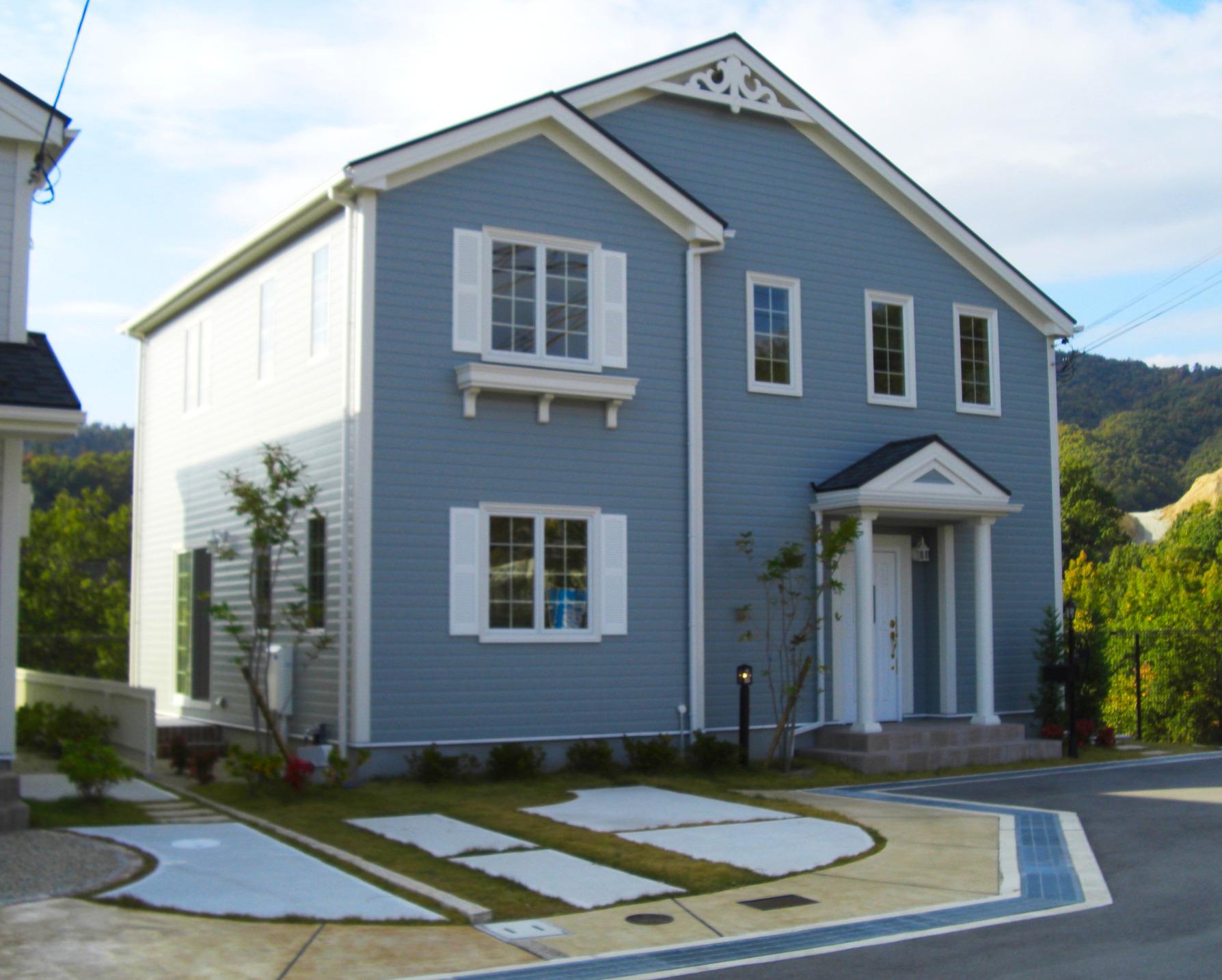 スタンプコンクリート オープン外構 アメリカンハウス 輸入住宅