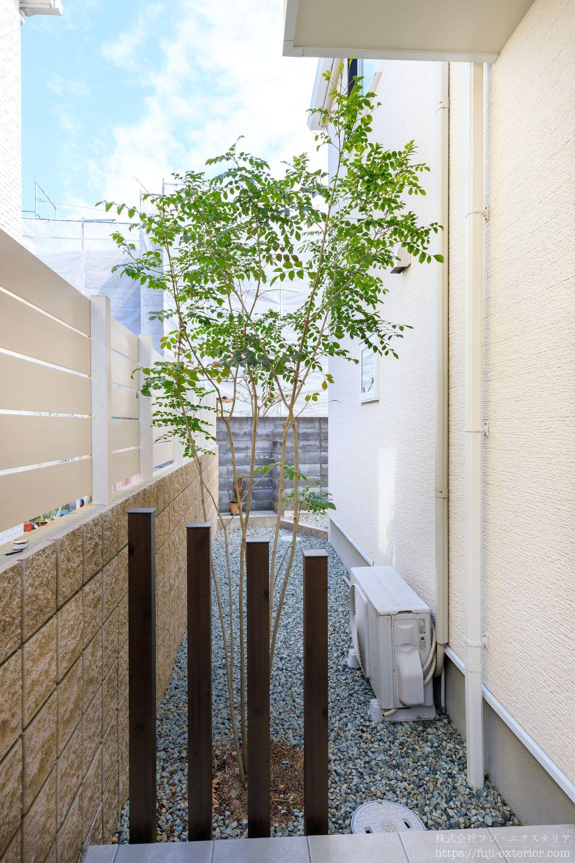 新築時に植樹した裏庭のシマトネリコは剪定してすっきりしました。1m位の高さだったのが、3年でなんと2.5m程に成長していました。生命力ってすごいと改めて感じました。